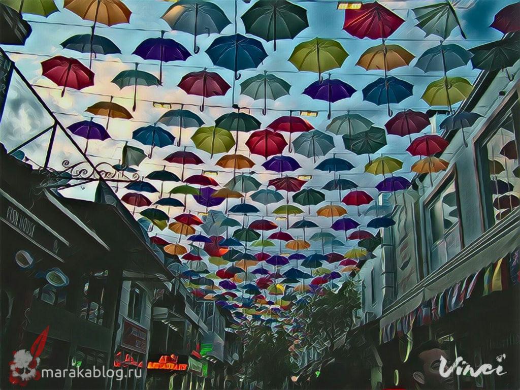 Фото улицы зонтиков в Анталии