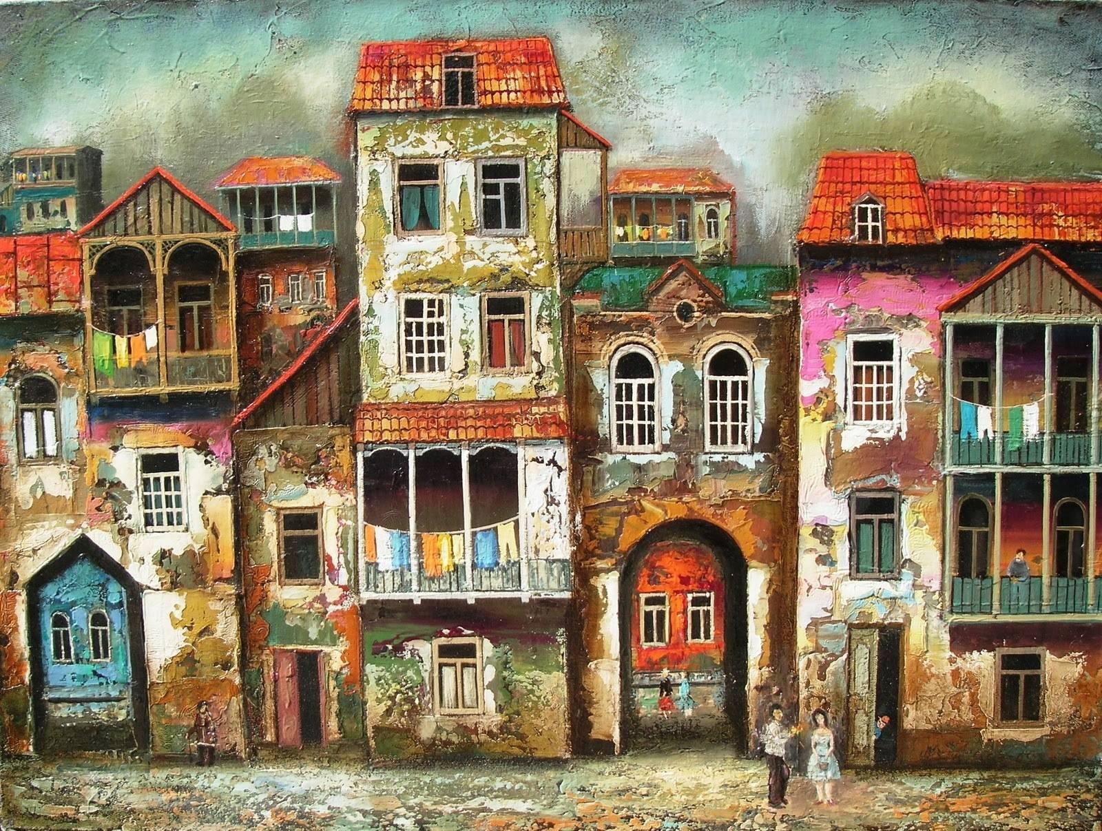 Арт грузинского художника Давида Мартиашвили: старый Тбилиси